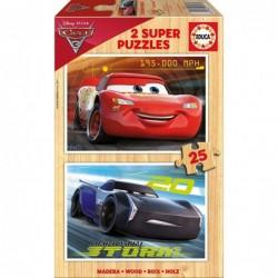 PUZZLE MADERA 2X25 PCS CARS 3