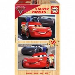PUZZLE MADERA 2X16 PCS CARS 3