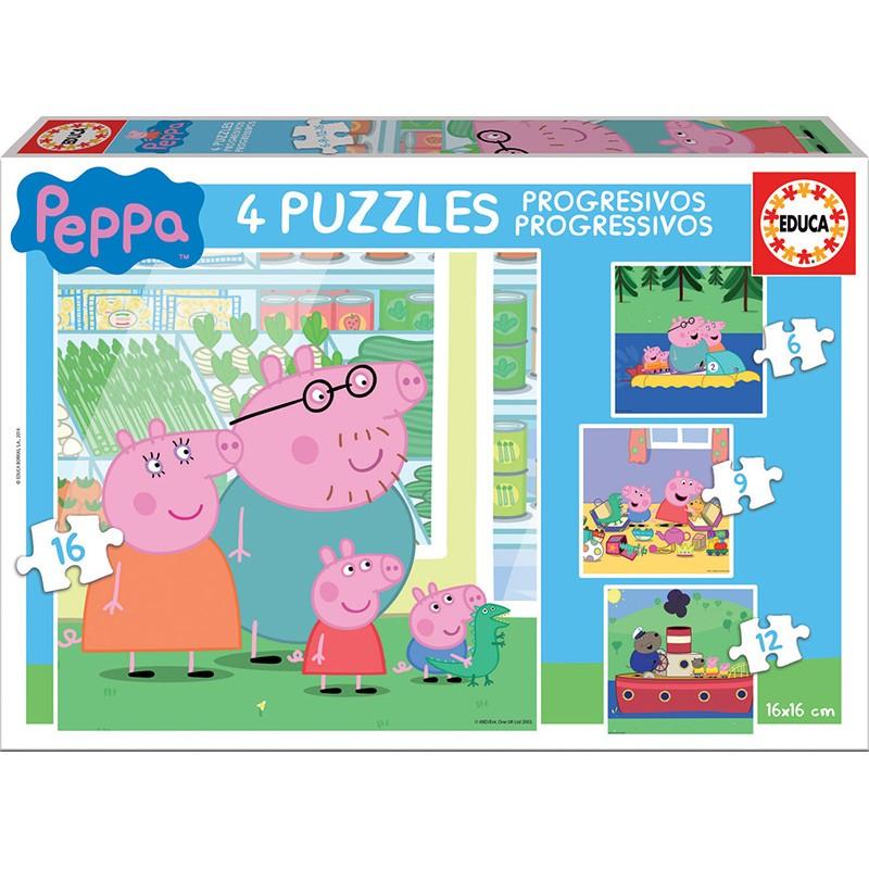 PUZZLES PROGRESIVOS PEPPA PIG 6+9+12+16