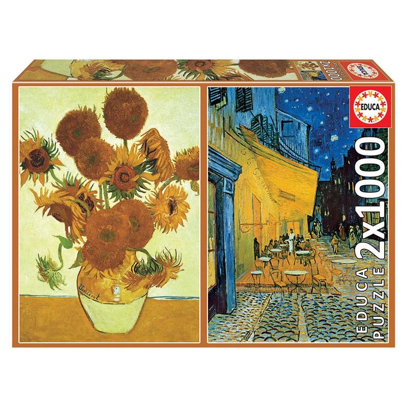 PUZZLE 2×1000 LOS GIRASOLES + TERRAZA DE CAFÉ POR LA NOCHE, VINCENT VAN GOGH